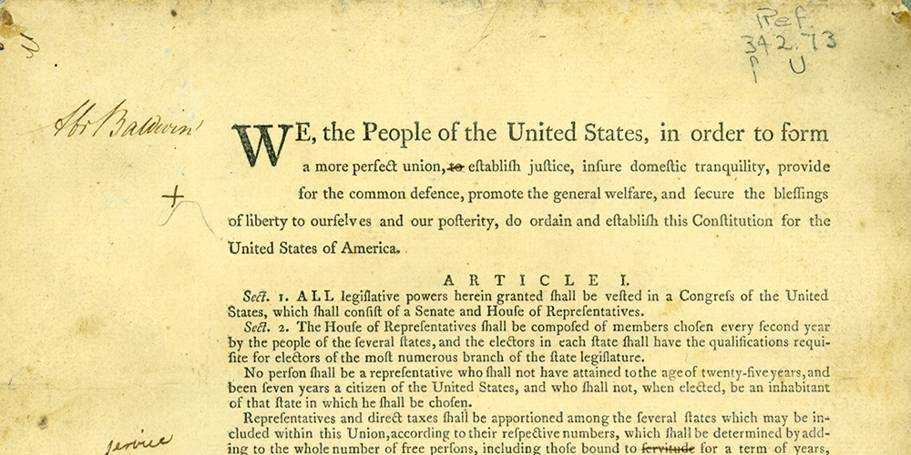 United States Constitution Draft Annotated by Abraham Baldwin