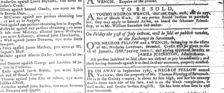Advertisements in the Georgia Gazette on July 01, 1767