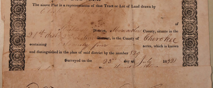 Land Grant to Elisha Strickland in Cherokee County, 1834