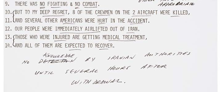 President Jimmy Carter's Annotated Statement on the Failed Rescue Mission Regarding the Hostages in Iran 1980