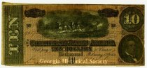 Ten dollar note of Confederate money. 1864