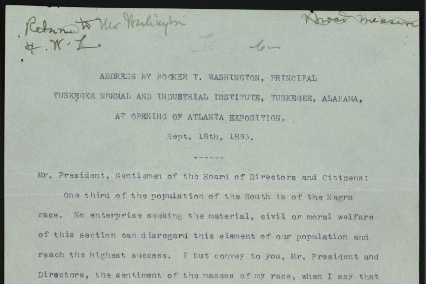 """Atlanta Compromise."" by Booker T. Washington 1895"