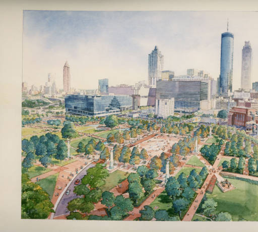 Centennial Olympic Park. Atlanta, Georgia, one of three photographs of the renderings. They are probably from 1995, but may be from the 1998 redesign of the park.
