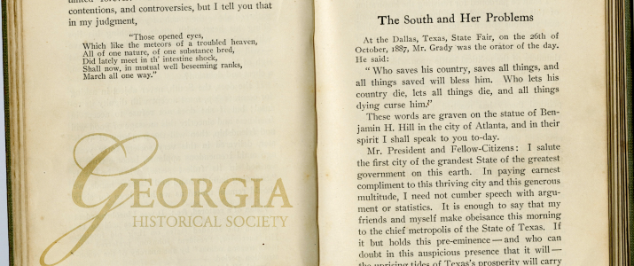 """The South and Her Problems"" is a speech by Henry Grady, given on October 26, 1887."