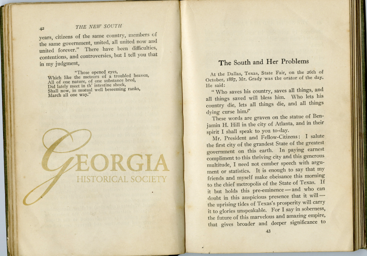 """""""The South and Her Problems"""" is a speech by Henry Grady, given on October 26, 1887."""
