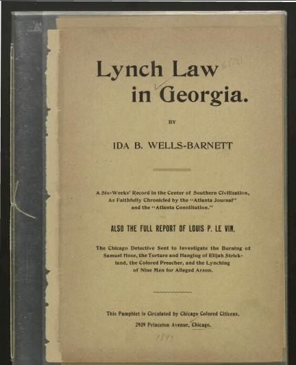 Ida B Wells' Lynch law in Georgia