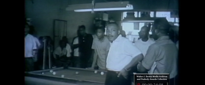 WSB-TV newsfilm clip of civil rights leaders promoting nonviolence in a poolroom in Albany, Georgia, 1962