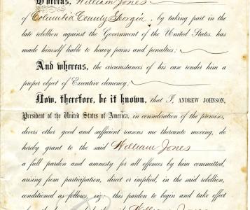 James Jones Pardon 1865