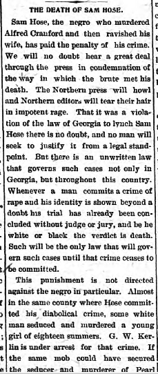 Newspaper coverage of the Sam Hose lynching in the Athens Weekly Banner. 1899