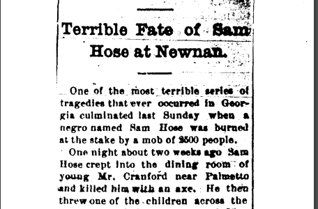 Newspaper clipping about the lynching of Sam Hose