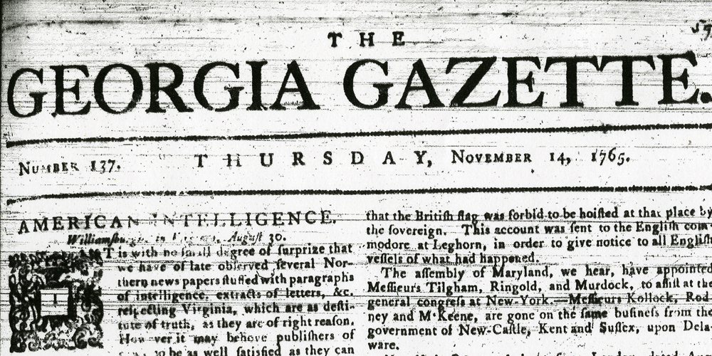 Georgia Gazette, November 14, 1765