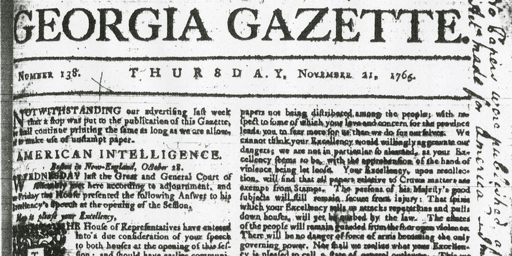 Georgia Gazette, November 21, 1765