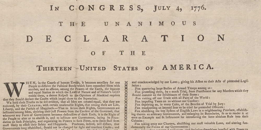 Copy of the Declaration of Independence with Names of the Signers, 1777