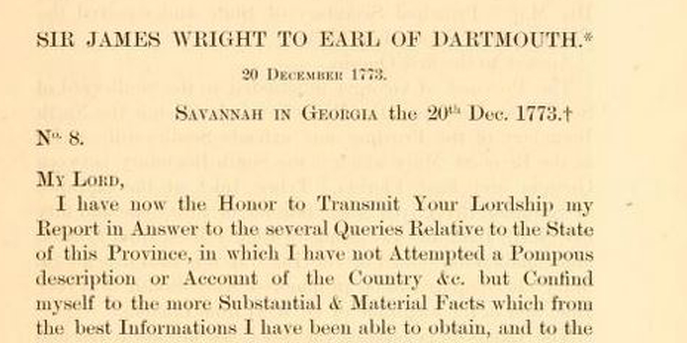 Letters of Gov. James Wright, 1774-1789
