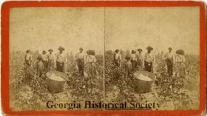 African-American cotton pickers from 1880. From the Georgia Historical Society Collection of Stereographs