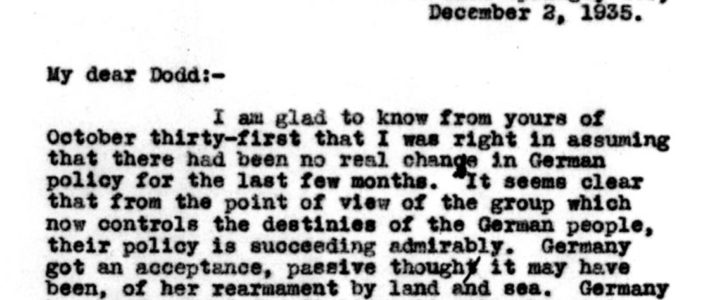 Letters between FDR and America's German Ambassador William Dodd