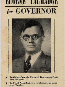 Eugene Talmedge Political Handbill from his campaign for governor