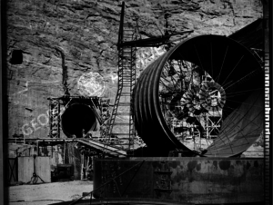 Photograph of construction on Buford Dam,