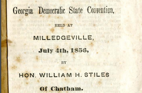 Georgia State Democratic Convention Address, 1856